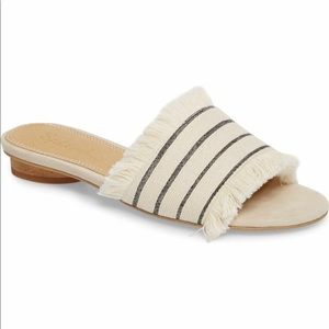 Splendid Baldwyn striped fabric fringe slides